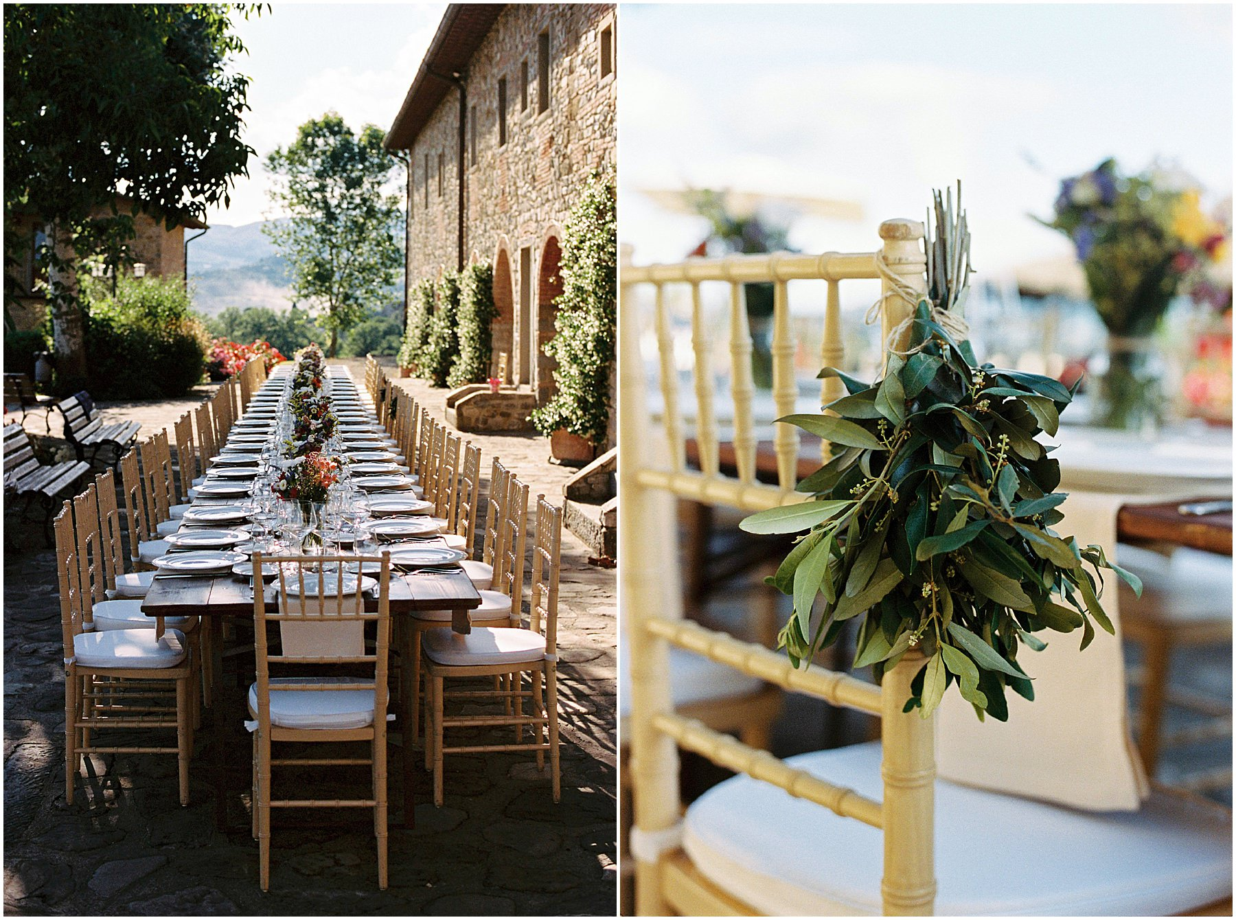 Wedding table setting in Tuscany